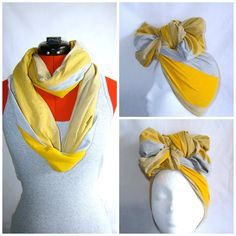 Mustard Yellow Multicolor Jersey Headwrap and Scarf  #mustard #yellow #gray #lines #headbow #headwrap #head-wrap #multipurpose #2-in-1 #scarf #summer #fall #winter #transition #twa #protective style #hair #headpiece