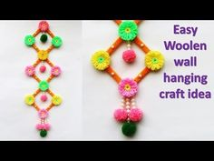 DIY Wall hanging idea out of wool || ice cream stick wall hanging idea || new craft idea - YouTube