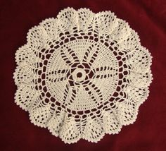 Vintage Cotton Crocheted Doily, Hand made Beige Round Doily, écru, Lacework, Lace, Shabby Chic, Made in Poland, Polish folk art 80' Available at: etsy.com/shop/VintagePolkaShop