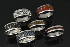 Men's dinosaur bone rings by Hileman Silver Jewelry are available in a variety of colors and band widths! #dinosaurbonerings #dinosaurbonebands