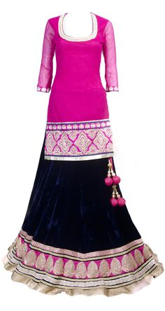 SVA Fuschia short kurta with lehenga - change colur to mint n pink for R? Indian Attire, Indian Wear, India Fashion, Asian Fashion, Indian Dresses, Indian Outfits, Indian Look, Indian Style, Pakistani Wedding Outfits