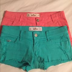 Pastel Hollister Shorts! Super fun colors, lightly worn!! Both pairs!! Price below is both pairs together Hollister Shorts
