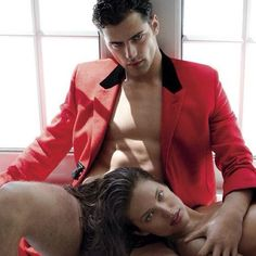 Latest trend in fashion-hair underwear?! JK.  Sean O'Pry and Emily Didonato  by MarioTestino for V Magazine No.90 Fall 2014  #fashion #photography #seanopry #emilydidonato #mariotestino #vmag #menswear #rake #dapper #sartorial