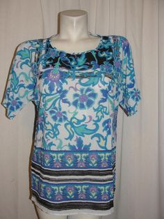 New Chico's Top Blue Purple Striped Floral RENA Blouse Women's Size 1 8/10 NWT #Chicos #Blouse #WearToWorkCasual