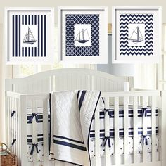 Sailboats Modern Nautical Prints in Navy and White 11x14 - 3 pc Set for Harper Bedding Pattern Background - Stripes Chevron Moroccan. $75.00, via Etsy.