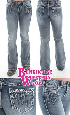 @cowgirltuffco Crystal Waterfall Jeans, Medium-Light Wash Denim, White Stitching, Clear Crystals, Black Sequins, Cowgirl, Tuff, Rock N Roll, Miss Me, $99.99, http://bunkhousewestern.com/csw