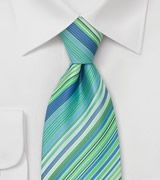 Modern Striped Tie in Turquoise, Aqua, Tea-green, and White