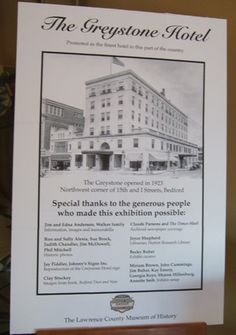 The Greystone Hotel Bedford Indiana This Flyer Is From An Exhibit At