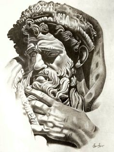 Pencil Sketches Of Sculptures - - Tattoo Zeus, Statue Tattoo, Portrait Sketches, Tattoo Sketches, Drawing Sketches, Graffiti Drawing, Pencil Art Drawings, Archangel Tattoo, Sketch Free