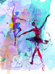 Two Dancing Ballerinas Watercolor 2 Painting by Naxart Studio