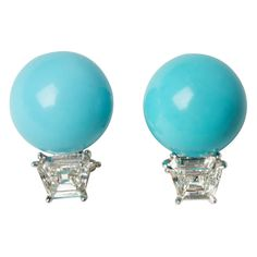 Shop diamond and pearl stud earrings and other vintage and antique earrings from the world's best jewelry dealers. Pearl Stud Earrings, Clip On Earrings, Color Cielo, Bleu Turquoise, Aqua, High Jewelry, Jewellery, Antique Earrings, Turquoise Earrings
