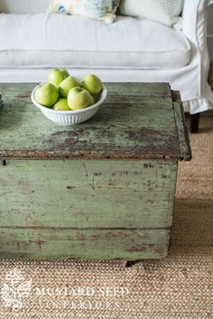 a trunk, a wicker chair & a side table - Miss Mustard Seed Milk Paint Furniture, Painted Furniture, Green Distressed Furniture, Furniture Makeover, Furniture Decor, Furniture Design, Dresser Makeovers, Painted Trunk, Painted Cedar Chest