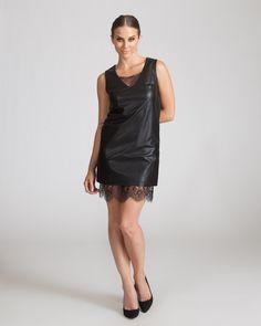 JOA BLACK LEATHER SHIFT DRESS