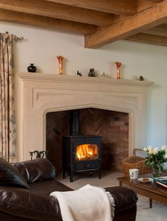 Border oak - stone fire surround