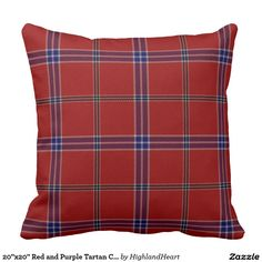 "20""x20"" Red and Purple Tartan Cotton Throw Pillow"