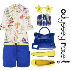 Odyssey Race - This outfit was inspired by one ensemble worn by my friend and colleague, Odyssey Race Aday, whose style is always tailored and crisp. #odyssey #floral #flowers #blue #yellow #fashion #women #clothes #bags #flats #shoes