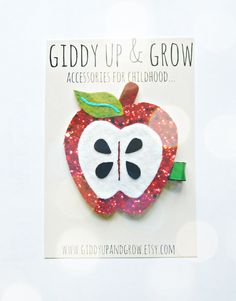 Hey, I found this really awesome Etsy listing at https://www.etsy.com/listing/196282601/glitter-hair-clip-apple-hair-clip-fall