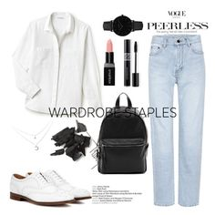 """classic"" by riley-callen ❤ liked on Polyvore featuring Lacoste, Yves Saint Laurent, French Connection, CLUSE, Smashbox, Christian Dior, Church's and WardrobeStaples"