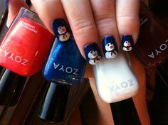 Snowman nails by Jodie, Master Stylist at Salon Verve using Zoya polish.