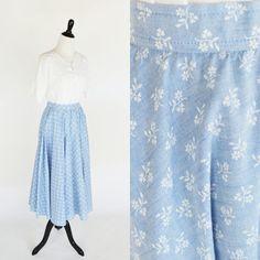 Vintage 1960's Blue Floral Midi Skirt  Mid by PonsonbyVintage