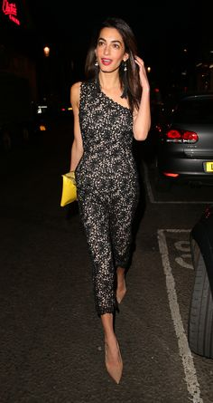Amal Clooney has a great stylist or just classic elegant taste. LOVE THE SHOES!! wearing Stella McCartney jumpsuit  Where: London   - MarieClaire.com