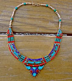 Turquoise statement necklace Tibetan Necklace by ZamarutJewel