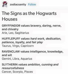 I'm Slytherin and when I saw another thing that said the signs as Harry Potter characters I was Luna or something