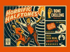 "Retro Supply Co. - ""Horrific Halftones"" Brush Set designed by Emir Ayouni. Connect with them on Dribbble; Logo Design, Graphic Design, Retro Logos, Brush Sets, Vintage Typography, Photoshop Brushes, Retro Aesthetic, Show And Tell, Vintage Prints"