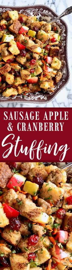 Christmas Sausage Apple and Cranberry Stuffing - Wicked Good Kitchen Thanksgiving Sides, Thanksgiving Recipes, Fall Recipes, Holiday Recipes, Christmas Recipes, Christmas Dishes, Holiday Foods, Christmas Goodies, Christmas Holidays