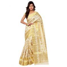 Cream Silk Casual #Saree With Blouse- $41.95