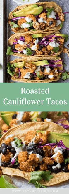 Made with corn tortillas, spices and black beans, these roasted cauliflower tacos are a quick, easy and healthy vegetarian meal! These cauliflower tacos are high in fibre and plant-based protein, making them a healthy vegetarian or vegan recipe. Vegetarian Sandwich Recipes, Vegetarian Lunch, Vegetarian Dinners, Lunch Recipes, Mexican Food Recipes, Breakfast Recipes, Dinner Recipes, Healthy Recipes, Vegetarian Mexican