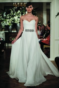 strapless belted wedding gown