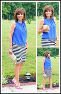 It's 26 Days of Summer Fashion and I'm mixing my striped skirt from Target Style with some floral pumps.