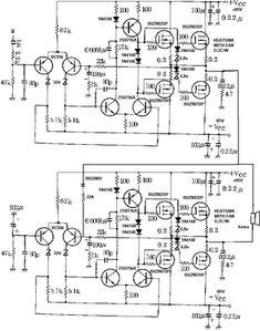 800W high power mosfet amplifier Schematic Diagram