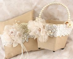 Flower Girl Basket and Ring Bearer Pillow Set in Ivory by SolBijou, $220.00