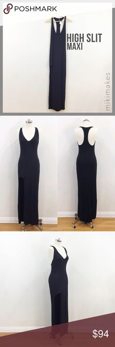 🆕 RILLER & FOUNT • black maxi racerback high slit • High slit front maxi dress • Large slit at the front on the right leg • Scoop neck and racerback • Very soft micro modal and double layered for a thicker look  93% micro modal 7% spandex Dry clean only Made in the USA  Please see size chart in Riller and Fount capsule listing at the top for approximate measurements.  Items vary depending on cut, but all items have stretch.    @mikimakes • Feel free to ask any questions • Sorry, no trades…