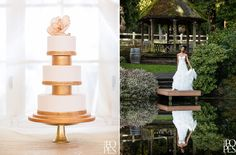Weddings in Woodinville | Gold cake by Cake Noir |  Bridal gown from A Princess Bride Couture | Venue: DeLille Cellars | The Popes Photographers