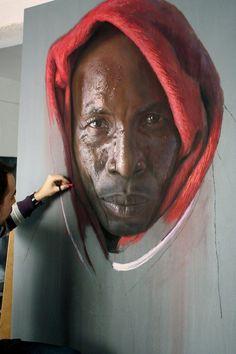 homem negro pintura giz pastel ruben belloso