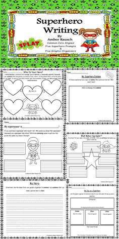 There are five graphic organizers and five writing prompts with paper provided to help your little writers further their writing skills.  Could anything be more fun than a superhero theme? These lessons would be great for anytime of year in second grade or second semester in first grade. (They would be very fun to use in conjunction with Zero the Hero during 100th Day of School theme.) $