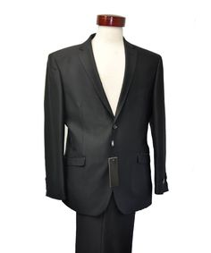 Solid BLACK Formal Tuxedo Suit with Black Lapel Satin Classic Fit BNWT Mens 2PC
