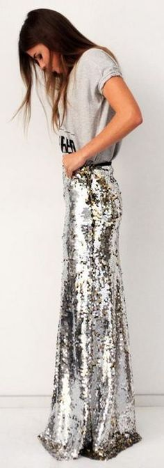 silver skirt with T-shirt