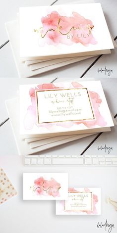 pink and gold foil- makeup artist business cards. pink and gold foil makeup artist business cards. pink and gold foil -