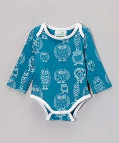 Take a look at this Teal & White Owl Organic Bodysuit - Infant by Nohi Kids on #zulily today!