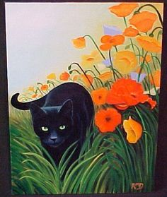 Rosemary Margaret Daunis - WILD POPPIES - Oil on Stretched Canvas - black kitty cat