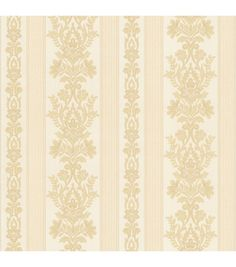 Kensington Beige Damask Stripe Wallpaper