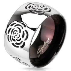 West Coast Jewelry Rose Cut-Out Domed Ring in High-Polish Stainless... ($13) ❤ liked on Polyvore featuring jewelry, rings, jewelry & watches, unisex rings, unisex jewelry, polish rings, stainless steel band ring and band jewelry