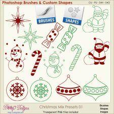 Christmas Brush & Shape PRESETS 01  cudigitals.com cu commercial scrap scrapbook digital graphics#digitalscrapbooking #photoshop #digiscrap