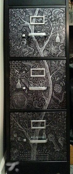 Metal filing cabinet - 3 of 4 drawers completed : SUPER fun project decorating the drawers by doodling with a silver metallic Sharpie. =)