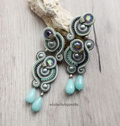 Light avocado and gray soutache earrings with beautiful swarovski crystals and jade stone.