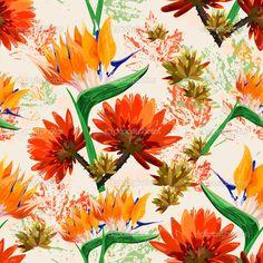 Тропические листья и цветы - Векторная картинка: 48942573